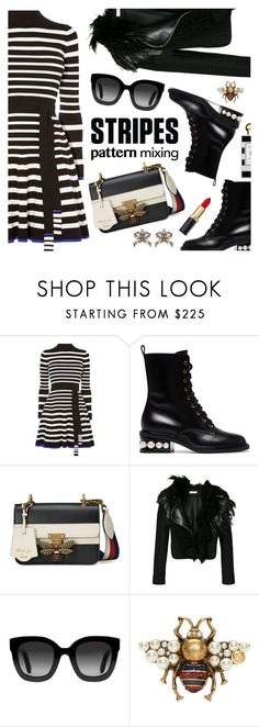 """Pattern Challenge: Stripes on Stripes"" by dressedbyrose ❤ liked on Polyvore featuring Karen Millen, Nicholas Kirkwood, Jo Malone, Gucci, Lanvin, stripesonstripes and PatternChallenge"