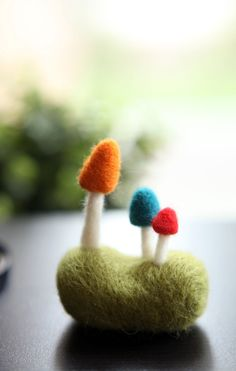 Needle Felted Mushroom on the Grassland by emhocollections on Etsy, $18.00  love this !!!