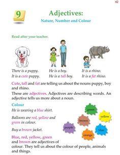 1st Grade Grammar Adjectives 1 Grammar For Kids, Teaching English Grammar, English Grammar Worksheets, Grammar Book, English Writing Skills, English Reading, Grammar Lessons, English Lessons, English Vocabulary
