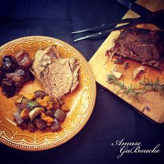 """Spicy Pork Noisettes cooked in Brown Beer with Roasted """"Potato Trio"""" and Cinnamon Plum sauce"""