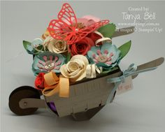 Stamping T! - Bouquet Berry Basket Barrow by Tanya Bell,  Made using the Berry Basket Die - lid opens to reveal treats