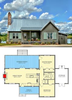Charming Cottage with Screened Porch – farmhouse front door with screen 2 Bedroom House Plans, Cottage Floor Plans, Small House Floor Plans, Cabin House Plans, Cabin Floor Plans, House Plans One Story, Tiny House Cabin, Up House, Cottage House Plans