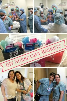 Nurses work tirelessly each and every day, a great way to say 'thank you' is with a fun gift basket! Nurse Gift Baskets, Hospital Gift Baskets, Diy Gift Baskets, Delivery Nurse Gifts, Baby Delivery, Thank You Nurse Gifts, Gifts For Nurses, Hospital Stay Gifts, Thank You Gift Baskets