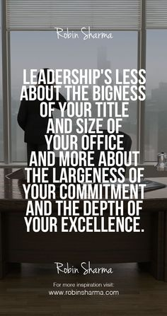 Leadership's less about the bigness of your title and size of your office and more about the largeness of your commitment… http://itz-my.com
