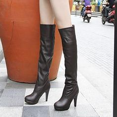 Spring new minimalist wild high boots Knight boots high heeled boots women s boots jackboot boots big yards
