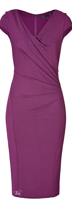 Donna Karan ● Purple Draped Dress love the style of the dress but in a different color Pretty Dresses, Beautiful Dresses, Dresses For Work, Dresses Uk, Mode Outfits, Casual Outfits, Work Fashion, Fashion Looks, Draped Dress