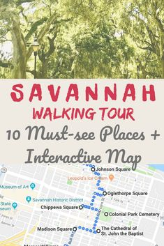 Savannah Georgia Travel Tips I This walking tour of Savannah that shows you the best things to do in this Southern gem of Georgia - Savannah. Find out the top 10 places to see, wander, and take photos Tahiti, Bora Bora, Savannah Georgia Travel, Savannah Chat, Savannah Ga Map, Visit Savannah, Savannah Tours, Georgia Usa, Travel Goals