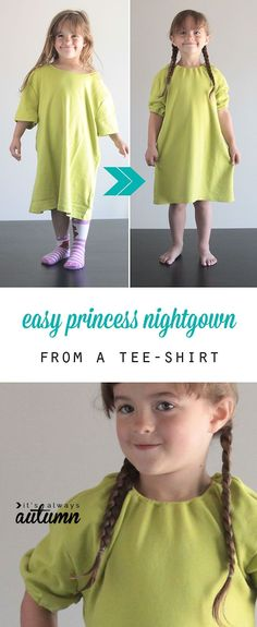 Turn a women's tee into a girl's nightgown with just a couple seams. Easy sewing tutorial!