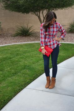 jcrew plaid popover + skinnies + booties | thenortheastgirl