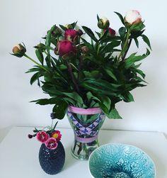 Pfingstrosen, Vase mit Washi Tape verziert | DIY