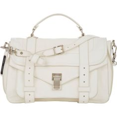 Proenza Schouler PS1 Medium ($1,780) ❤ liked on Polyvore featuring bags, handbags, white, white shoulder bag, shoulder handbags, shoulder strap bag, shoulder bag purse and flap handbags
