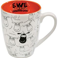 """Ewe are 1 in a Million"" Mug  A fun and whimsical mug with the iconic Irish sheep. Ceramic, 10 oz., microwave and dishwasher safe. Imported"