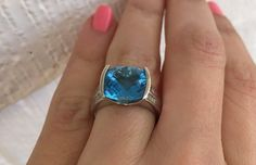 Vintage, London blue topaz and diamond ring white gold Aquamarine Jewelry, Blue Cushions, Vintage London, London Blue Topaz, Topaz Ring, Cushion Cut, Beautiful Things, Lamb, Heart Ring