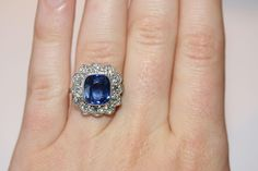 Vintage Platinum Natural Sapphire and old cut diamond cluster ring - sapphire estimated at 5.39 carats