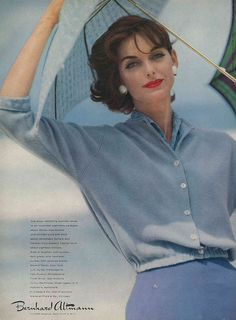 Serene summer blues and vivid crimson lips - so timelessly lovely. #vintage #fashion #1950s