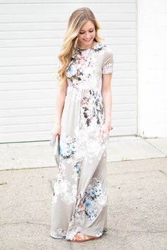 Ann Floral Maxi Dress in Taupe SOLD OUT