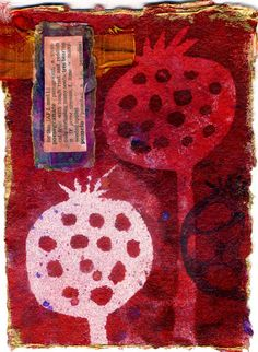 theme of pomegranates Ro Bruhn who hails from the Dandenongs in Victoria delighted visitors with her vibrant pomegranate juice colours and tactile print on deliciously thick paper