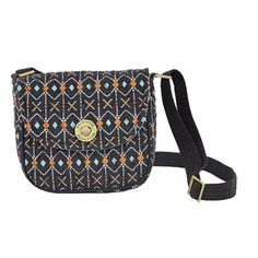 Allie Mini Saddle Crossbody - New for Spring 2015, the Mini Saddle Crossbody secured body has enough room to house cellphones of all sizes, keys, lipstick, cash/cards, sunglasses, a wallet, a few small personal items. Pulling from tribal trends, the Allie Patchwork program features patches of Slate Navy, Desert Clay, Clear Blue and Whisper White. The outside and inside features 1 zip pocket each. The adjustable strap has a maximum size of 55x1