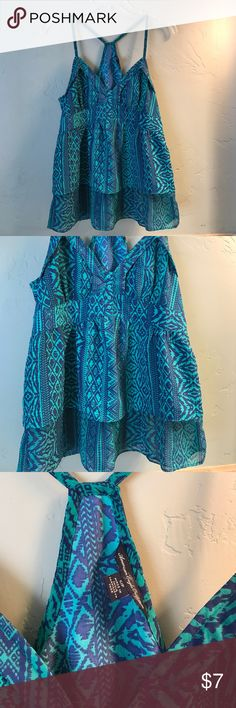 American Eagle summer blouse JR size Small Beautiful deep sea green and navy blue dress top- perfect condition American Eagle Outfitters Tops Blouses