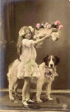 Girl and Dog and Spring Flowers