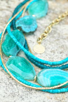 Stunning Blue Agate, Turquoise and Gold Multi-Strand Statement Necklace $250 The ultimate resort necklace!