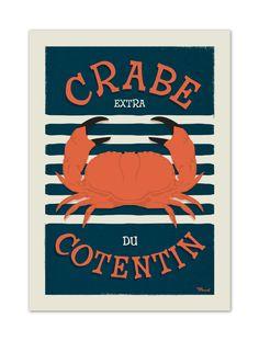€25 . Affiche Illustration Originale CRABE du Cotentin . Papier 350g/m² Couché Mat