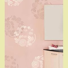 Cutting Edge Stencils - Chrysanthemum Twist Stencil: such a delicate soft pastel for  a bathroom, love that the flowers can be intertwined for added effect