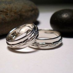Two Braided Silver Bands