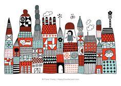 Doodle Town © Flora Chang | Happy Doodle Land