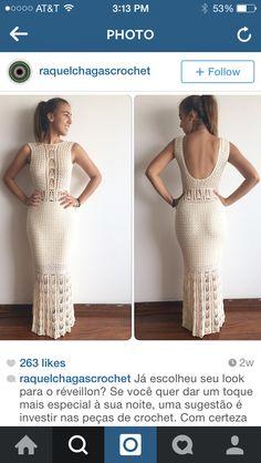Dress Casual Formal Dresses, Formal Dresses For Weddings, Simple Dresses, Crochet Wedding Dresses, Crochet Dresses, Crochet Fashion, Handmade Clothes, Crochet Clothes, Chic Outfits