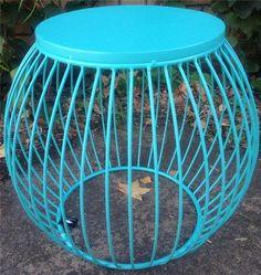 NEW Industrial Retro Aqua Blue Metal Drum Round Side Table Stool Bedside Coffee