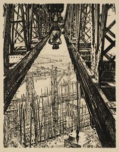 Sir Muirhead Bone, 'Building Ships: A Shipyard Seen from a Big Crane' c.1917
