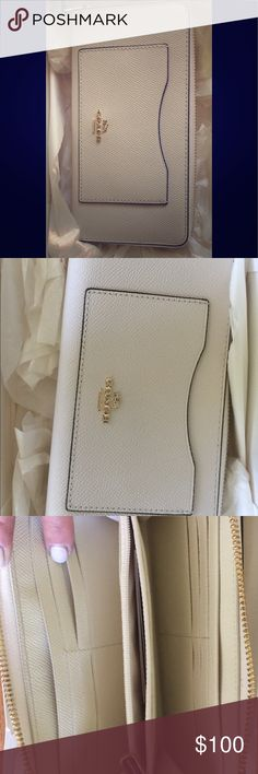 Brand New Ava Coach Wallet White leather Coach wallet w/ gold detail. Purchased for $250. 100% Authentic! Coach Bags Wallets