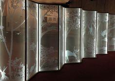 A Bright Idea — Axolotl Trade Show Booth Design, Chalet Style, Sandblasted Glass, Decorative Screens, Glass Etching, Etched Glass, Axolotl, Glass Screen, Glass Design