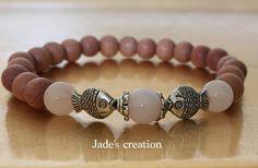 Rose Quartz Lucky Charm Yoga Bracelet Rosewood by BeautifulShades