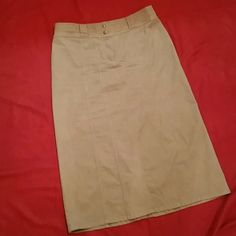 LONG SKIRT Very cute khaki colored long skirt with spandex for comfort. Belt loops. 2 back patch pockets. Christopher & Banks Skirts Maxi