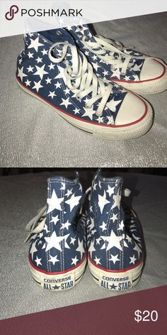 High Top Converse Chucks Americana theme high-top Chuck Taylors by Converse. In great condition, worn twice. Perfect for 4th of July outfit. Converse Shoes Sneakers