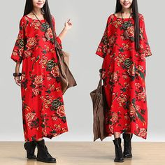 Red national wind printing temperament dress / round neck Sleeve Dress : Robe par dreamyil