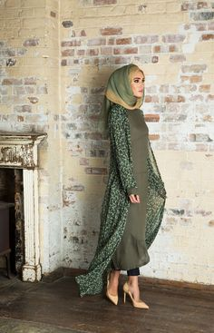 3. olive green abaya for girls