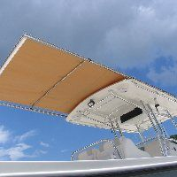 photo gallery of center console and sportfishing boat models with retractable shade