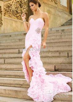 Wholesale Prom Dress - Buy Breathtaking Rosette Flare 2012 Prom Dress P649 Strapless High Slit Beaded Fitted Slight Train, $193.18 | DHgate