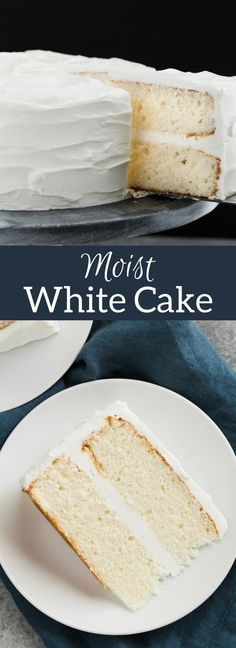 This made from scratch Moist White Cake is supremely light and tender. #whitecake #cake #recipe via @introvertbaker