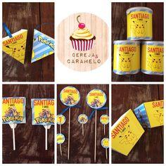 POKÉMON em grande!! Bom fim de semana...!!  Cerejacaramelo.blogspot.com  Cones de pipocas, pringles, chupas, palitos de brigadeiros/cupcakes e caixas de batata frita
