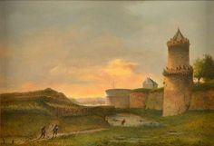 Kronenburgertoren en de vestingwerken voor de Hezelpoort in Nijmegen door Rudolphus Lauwerier - 1860-1870.