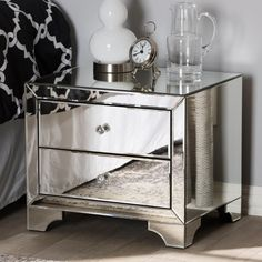 Baxton Studio Farrah Hollywood Regency Glamour Style Mirrored Nightstand, Size: x Silver Mirrored Nightstand, 3 Drawer Nightstand, Mirrored Furniture, Nightstand Ideas, Silver Furniture, Plywood Furniture, Bedroom Furniture Stores, Furniture Deals, City Furniture