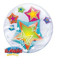 Multi coloured stars double bubble balloon http://www.wfdenny.co.uk/p/multicoloured-stars-double-bubble-balloon/5418/