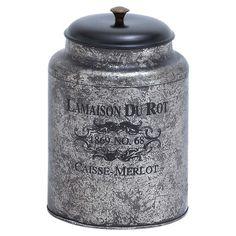 Found it at Wayfair - Metal Jar in Distressed Silver