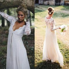 2015 Maternity Wedding Dresses With Long Sleeves V Neck Empire Lace Chiffon Floor Length Plus Size Wedding Gowns