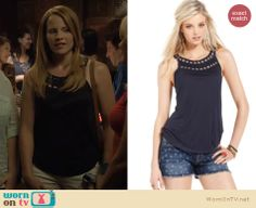 Daphne's navy eyelet and bead detail top on Switched at Birth.  Outfit details: http://wornontv.net/18288/