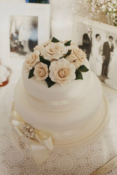 Use ribbon and lace on a buttercream cake